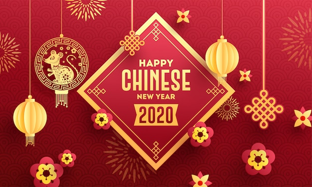 Happy chinese new year 2020 celebration greeting card  decorated with hanging rat zodiac sign, paper cut lanterns and flowers on red seamless circle wave .