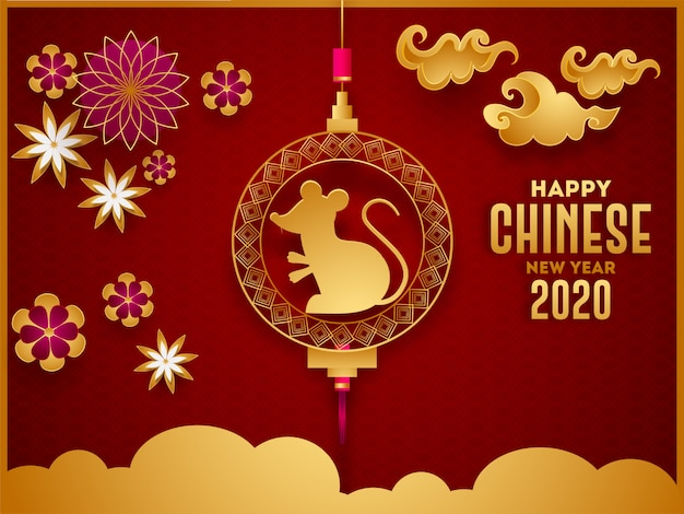 Happy chinese new year 2020 celebration greeting card  with holding rat zodiac sign, paper cut flowers and clouds decorated on stylish red seamless square pattern .