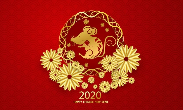 Happy chinese new year 2020 greeting card