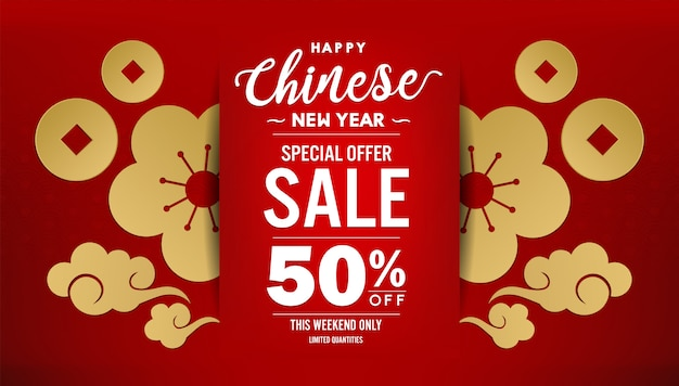 Happy chinese new year 2020 sale banner design [translation of language - happy new year]