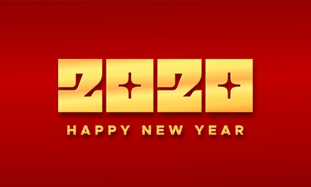 Happy chinese new year 2020 typography card