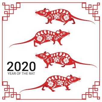 Happy chinese new year 2020 year of the rat zodiac sign paper cut art and craft style