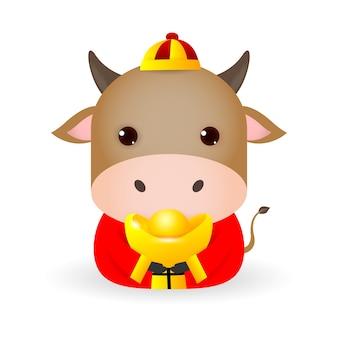 Счастливый китайский новый год 2021, милая маленькая корова, держащая китайское золото, год зодиака быка, карикатура на белом фоне.