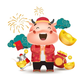 Happy chinese new year 2021,happy little cow with little mouse