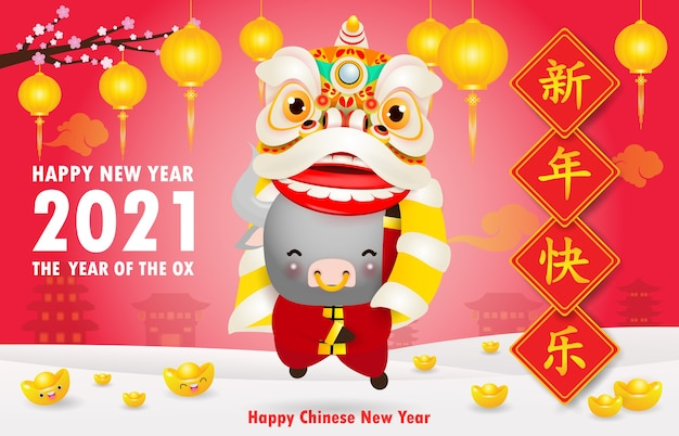 Happy chinese new year 2021 the ox zodiac poster design with cute little cow firecracker and lion dance, the year of the ox greeting card red color isolated on background, translation happy new year