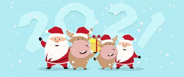 ハッピーチャイニーズニューイヤー2021バージョン。伝統的な牛の漫画のキャラクターの干支。新年2021カード。牛の新年2021。