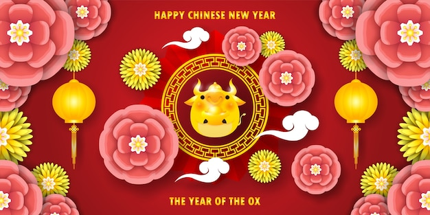 Happy chinese new year 2021 the year of the ox paper cut style,  greeting card, golden ox with gold ingots, cute little cow