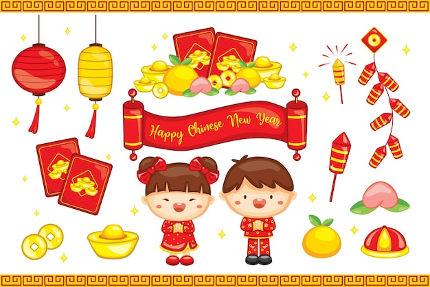 Happy chinese new year 2021 the year of ox  set with elements