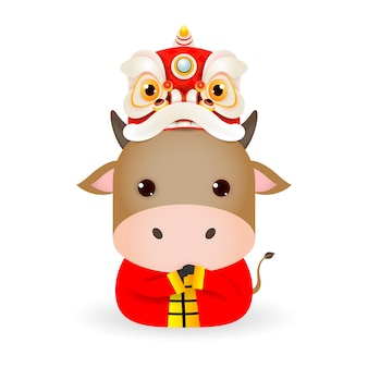 Happy chinese new year 2021 year of the ox zodiac, cute little cow with lion dance head, cartoon illustration isolated on white background.