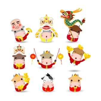 Happy chinese new year 2021 the year of the ox zodiac, set of cute little cartoon cow character