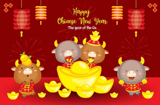 Happy chinese new year 2021 the year of ox