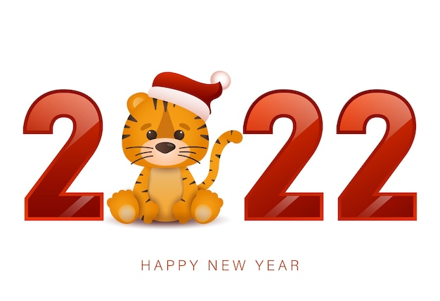 Happy chinese new year 2022 greeting card little tiger year