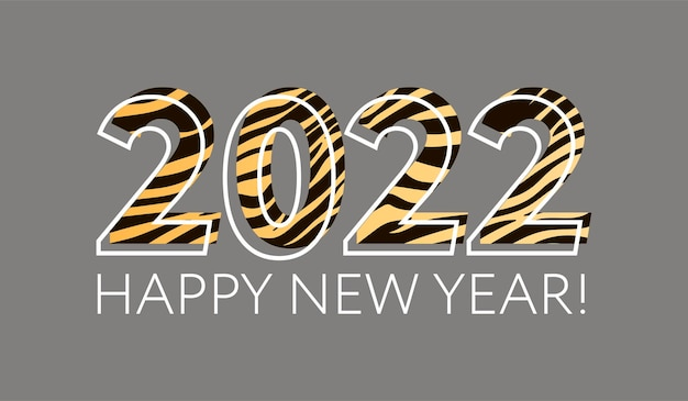 Happy chinese new year 2022. striped fluffy black and orange funny numbers 2022. year of the tiger. inscription: happy new year