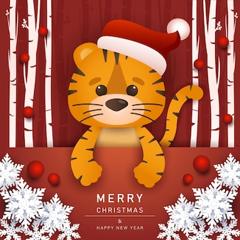 Happy chinese new year 2022 year of the little tiger greeting card cute tiger