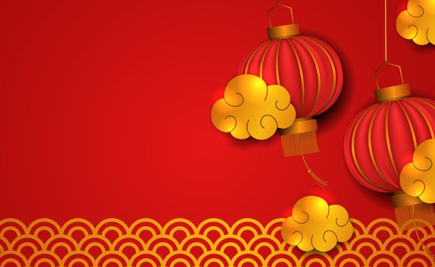 Happy chinese new year. 3d tradition red lantern with gold element