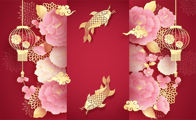 Happy chinese new year background, template with hanging lantern, golden koi fish and peony flowers, paper cut style