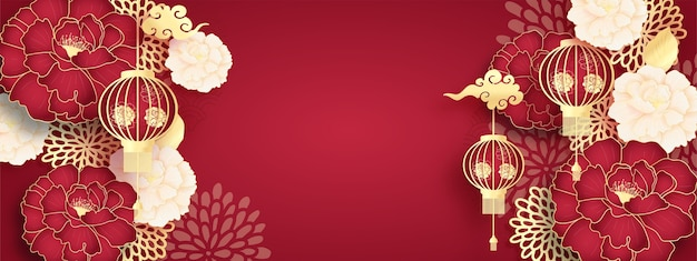 Happy chinese new year banner, template with hanging lantern and peony flowers, paper cut style