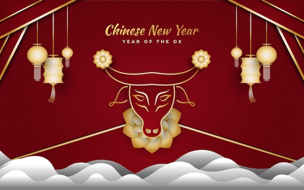 Happy chinese new year banner with golden ox and cloud and lanterns