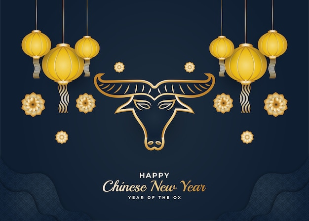 Happy chinese new year banner with golden ox and colorful flower ornaments on blue background