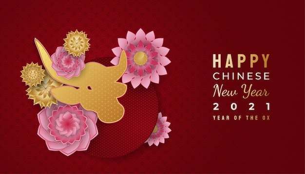 Happy chinese new year banner with golden ox and colorful flower ornaments