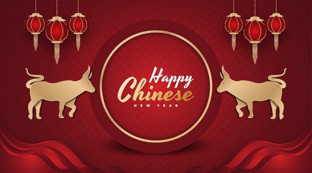 Happy chinese new year banner year of the ox happy lunar new year banner with golden ox and lanterns on red background