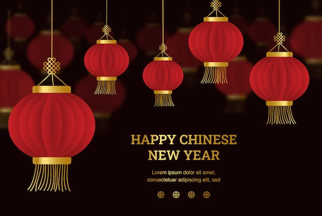 Happy chinese new year - chinese lantern with paper cut art and craft style on black color background.