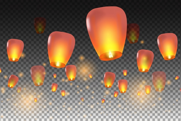 Happy chinese new year.  chinese lanterns.  illustration for card, poster, invitation.