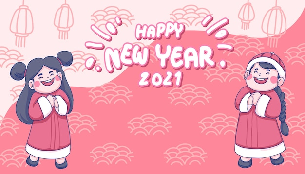 Happy chinese new year concept illustration. chinese girl and boy cartoon character.