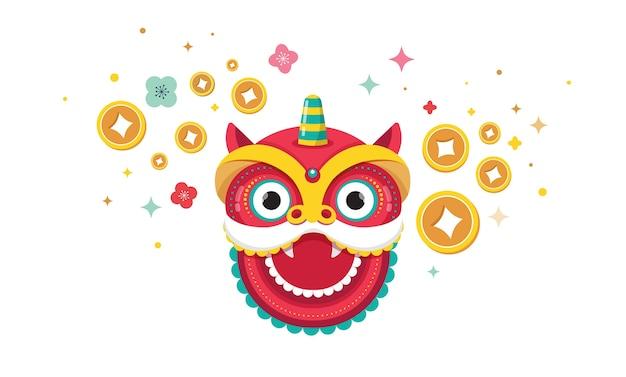 Счастливый китайский новый год дизайн. танцующий дракон, цветы и денежные элементы. векторные иллюстрации и