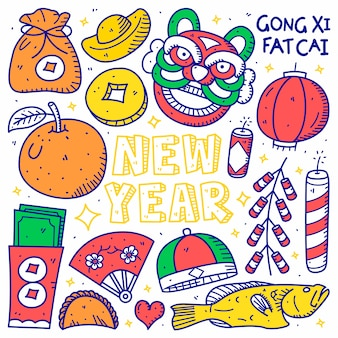 Happy chinese new year doodle hand drawn style
