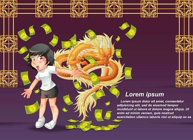 Happy chinese new year and dragon.