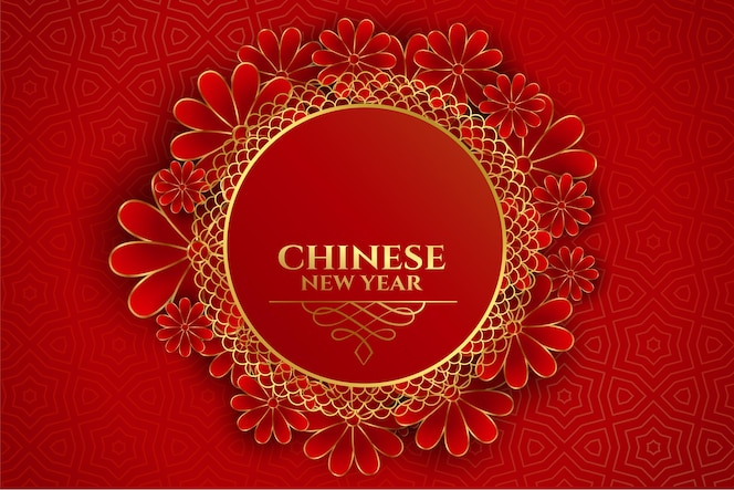 Happy chinese new year floral frame on red