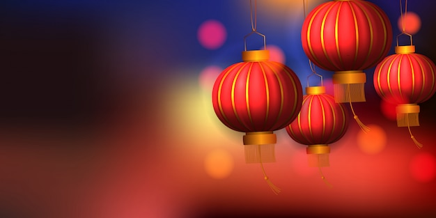 Happy chinese new year golden red hanging lantern