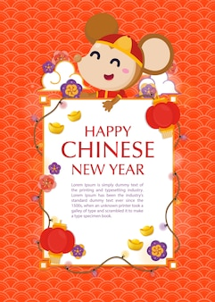 Happy chinese new year greeting card. 2020 rat zodiac.