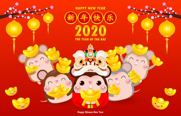 Happy chinese new year greeting card. group of little rat holding chinese gold, happy new year 2020 year of the rat zodiac