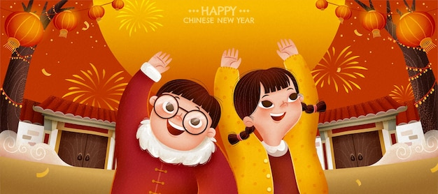 Happy chinese new year illustration banner with two cute children raising their hands up