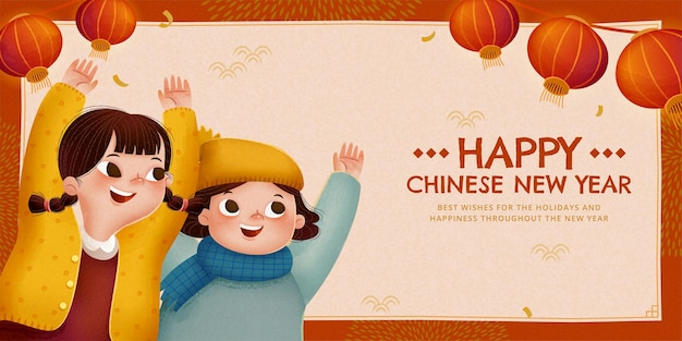 Happy chinese new year illustration with two cute children