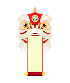 Happy chinese new year lion dance head with blank scroll, mascot for lucks holding red sign decorated with gold, banner template poster cartoon  isolated on white background.