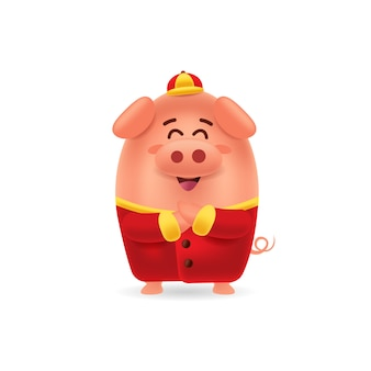 Happy chinese new year little pig with traditional chinese costume greeting gong xi with isolated background