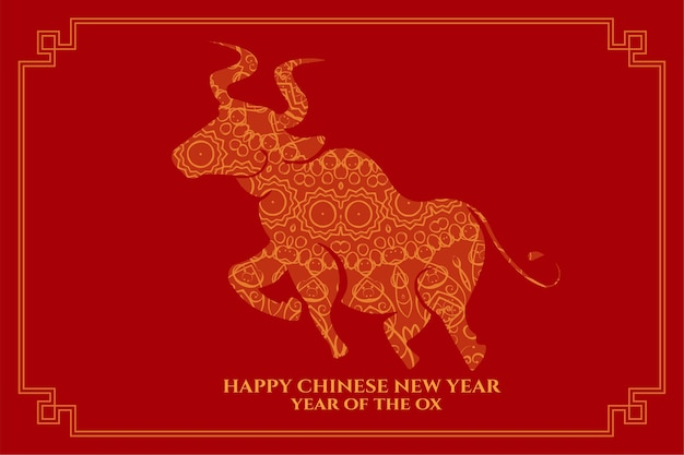 Happy chinese new year of the ox on red background