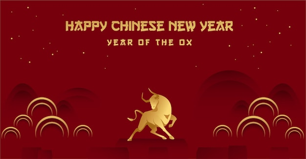 Happy chinese new year of the ox with golden ox