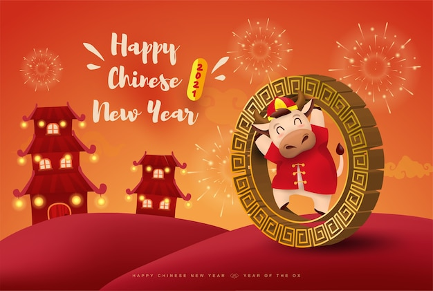Happy chinese new year  ox zodiac. cute cow character in red costume.