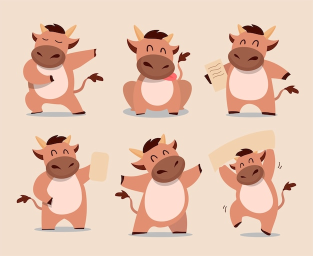 Happy chinese new year  ox zodiac. cute cow character set.