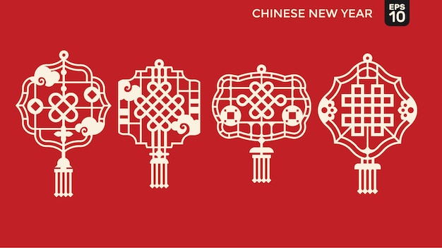 Happy chinese new year of paper cutting style, lattice frame with blessing and prosperity symbol