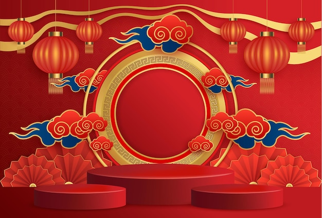 Happy chinese new year podium round stage podium and asian elements with craft paper cut style