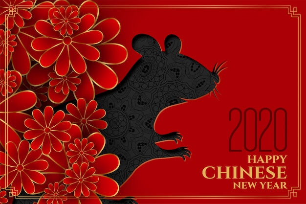 Happy chinese new year of the rat flower Free Vector
