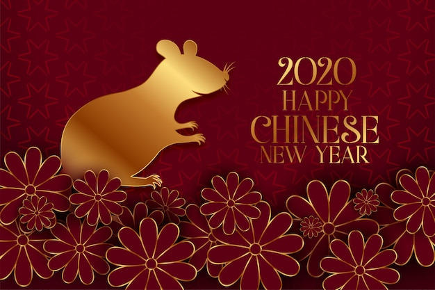 Happy chinese new year of the rat traditional greeting card