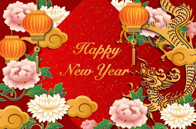 Happy chinese new year retro gold red relief dragon peony flower lantern cloud and spring couplet