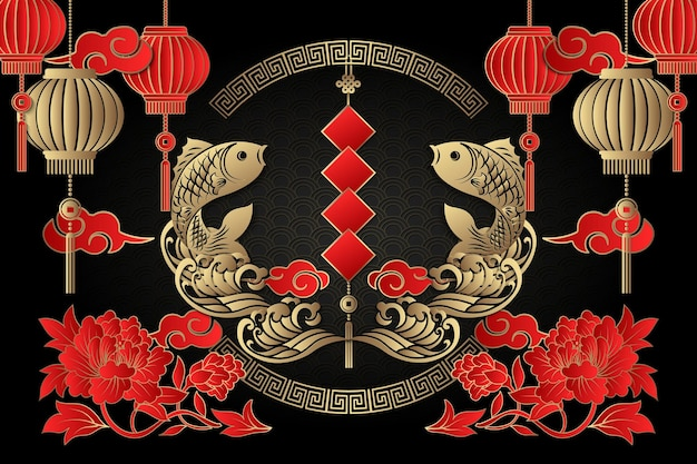 Happy chinese new year retro gold red relief fish cloud wave lantern peony flower spring couplet and spiral round lattice frame