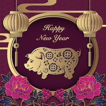 Happy chinese new year retro paper cut art and craft relief pig peony flower lantern window frame
